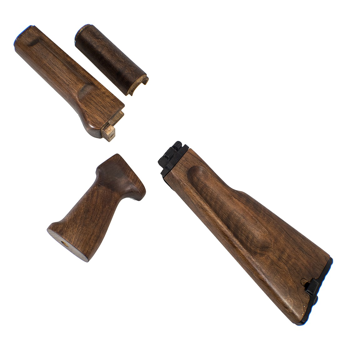Custom AK-74 AK 100 Series Folding Stock Set Walnut